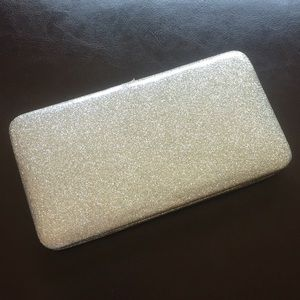 Nine West Silver Glitter Hard Case Wallet